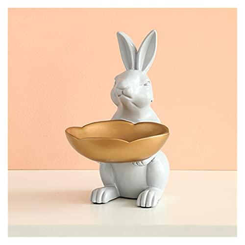 TYUTYU Resina Rabbit Figurine con Caja de Almacenamiento de tazón para Llaves Accesorios Oficina de Mesa Ornamentos Escritorio Hotel DecorGift (Color : A White)