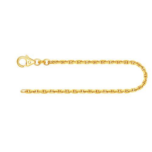 Feines Armband Damen Herren Echt Gold 2 mm, Ankerkette diamantiert aus 585 Gelbgold, Goldarmband mit Stempel und Karabinerverschluss, Länge 20 cm, Gewicht ca. 4.7 g, Made in Germany