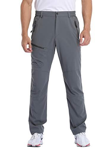 MOCOLY Men's Hiking Cargo Pants Elastic Waist Quick Dry Lightweight Water Resistant Jogging Long Pants UPF SPF 50+ Grey M