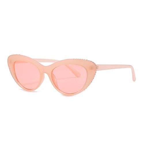 ZZOW Gafas De Sol con Decoración De Diamantes De Lujo con Ojo De Gato A La Moda para Mujer, Gafas Graduadas Vintage Ovaladas para Hombre, Gafas De Sol Rojas Púrpuras