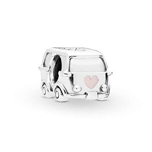 MiniJewelry - Abalorio para pulsera de plata de ley, diseño de bicicleta o furgoneta, regalo de graduación para mujeres, niñas, hijas, regalo de graduación Rosa