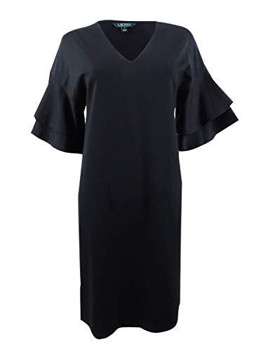 LAUREN RALPH LAUREN Raeyana Damen Minikleid Flatterärmel Schwarz Größe S