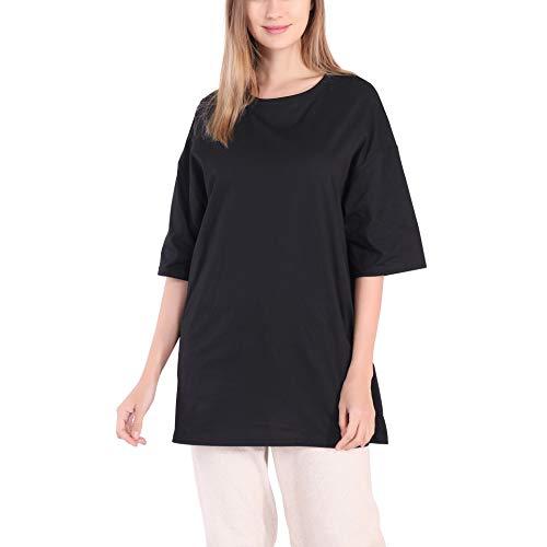 Largas Camisetas Mujer Verano Casual Blanco Negro Algodón Basicas Anchas Túnica Camisas Tops Tallas Grandes Oversize (Negro, L)