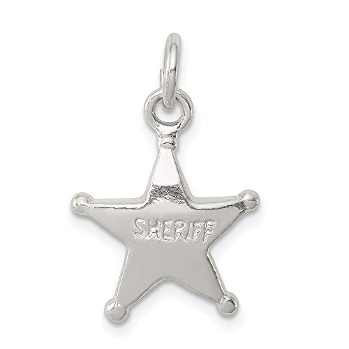 925 Sterling Silver Sheriffs Badge Pendant Charm Necklace Career Professional Polouse Fine Jewelry For Women Gifts For Her