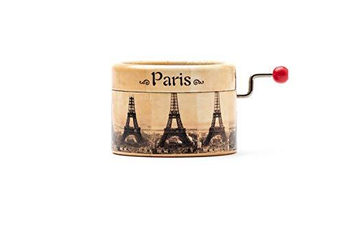 Caja de música manual redonda con la melodía del La Valse d\'Amelie decorada con la Torre Eiffel de París.