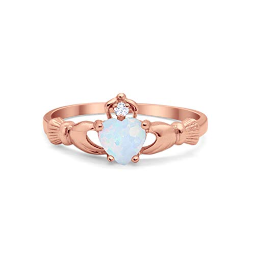 Blue Apple Co. Irish Claddagh Heart Promise Ring Lab Created Round Rose Tone, Lab White Opal Cubic Zirconia 925 Sterling Silver Size-7