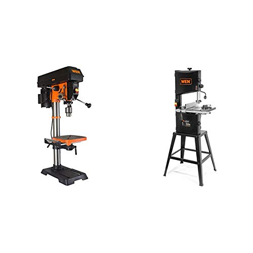 WEN 4214 12-Inch Variable Speed Drill Press,Orange & 3962 Two-Speed Band Saw with Stand and Worklight, 10'