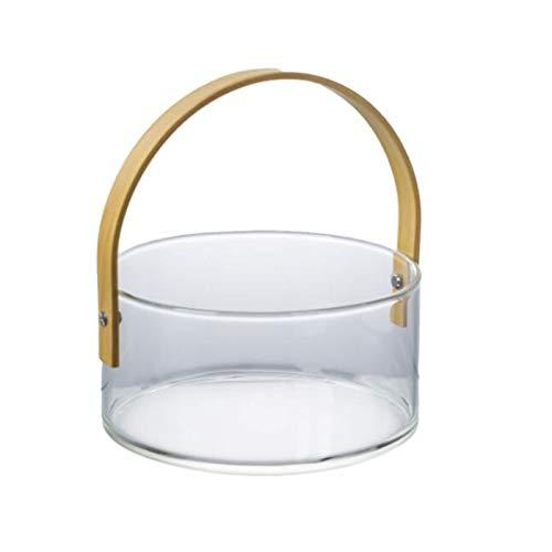YANGYUAN Cubo de hielo de vidrio portátil con barra de mango Ktv cerveza vino champán cubo de hielo, adecuado para fiestas, camping al aire libre