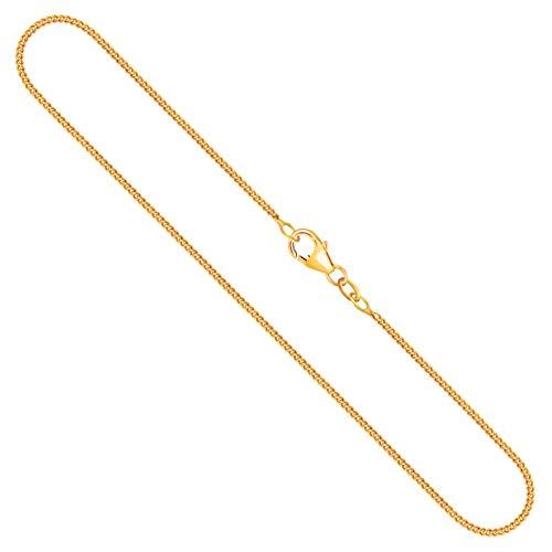 Goldkette Herren Echtgold 1,4 mm, Panzerkette flach 750 aus Gelbgold, Kette Gold mit Stempel, Halskette mit Karabinerverschluss, Länge 50 cm, Gewicht ca. 4,2 g, Made in Germany