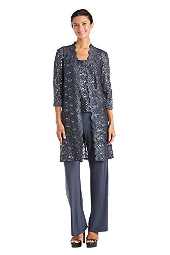 R&M Richards Plus Size Women's 3 Piece Scalloped Sequin Lace Pant Suit - Mother of The Bride Outfit (Coal, 18 Plus)