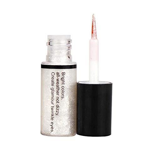 Kisshes Delineador de ojos, 5 Colores Eyeliner Glitter Impermeable Shimmer Pigmento Oro Plata Metalizado Líquido Glitters Eyeliner (color 1)