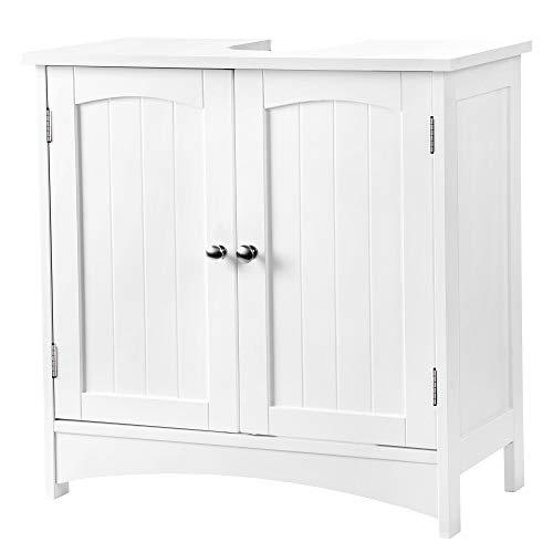 VASAGLE wastafelmeubel onderkast badkamerkast 2 deuren met verstelbare legplank hout, wit, 60 x 60 x 30 cm (B x H x D), BBC01WT