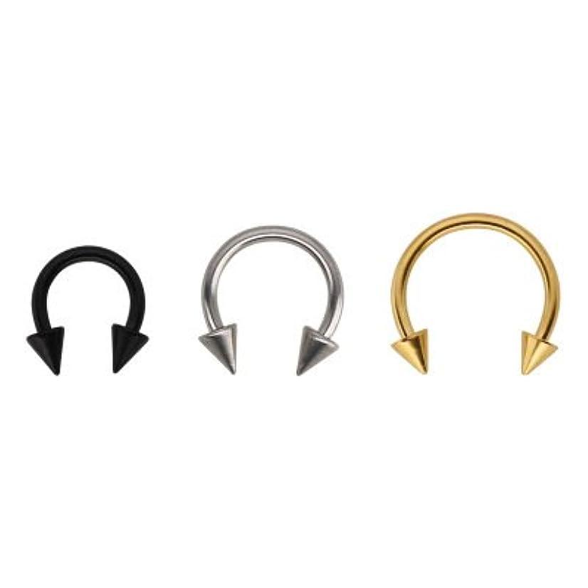 KARAY Unisex Stainless Steel Horseshoe Hoop Ear Cartilage Helix Septum Circular Barbells Earrings 16 Gauge