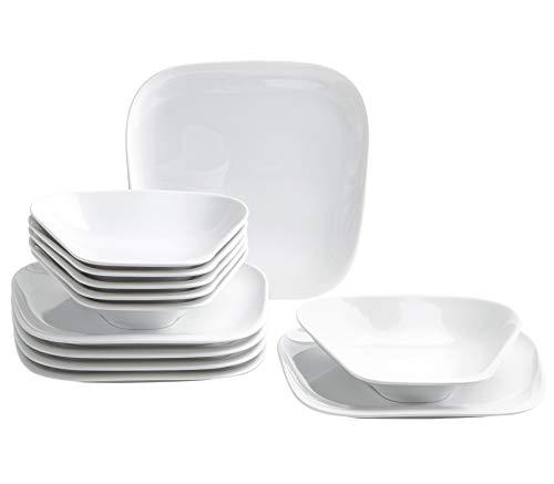 Kahla 150222A90015C Elixyr Porzellan Geschirrset für 6 Personen Tellerset weiß eckig modern 12-teilig Teller Suppenteller Tafelservice Essgeschirr