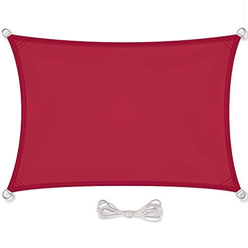 CelinaSun Sonnensegel inkl Befestigungsseile PES Polyester wasserabweisend imprägniert Rechteck 4 x 6 m rot