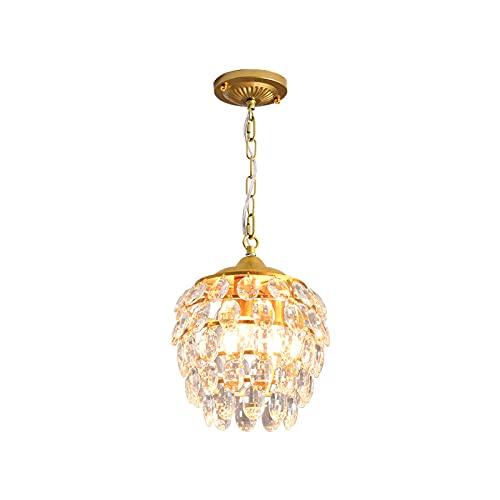 Wylolik Postmoderne minimalistische kroonluchter Creatieve persoonlijkheid Hanglamp Single - Headed Sparkly Hanglamp Woonkamer Villa Gouden Hal Kristallen decoratieve armatuur, afmeting: 27×45cm