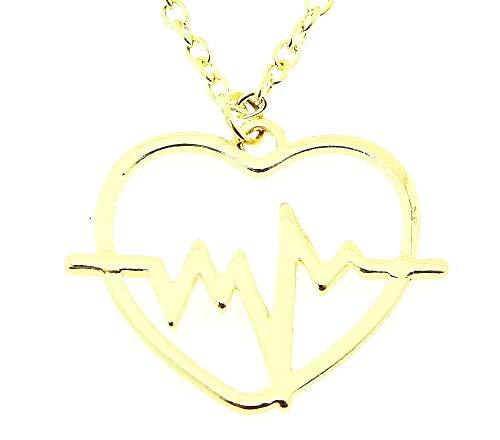 Vrouwelijke ketting - vrouw - hartslag - hart - arts - verpleegster - mode - vrouw - meisje - kerstmis - origineel cadeau-idee - kostuumjuwelen - verjaardag - goud - sieraden