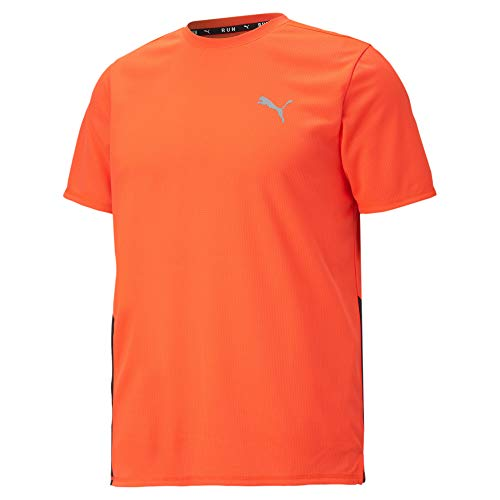 PUMA Run FAV SS tee. 520208. Camiseta Manga Corta Hombre Running. Naranja-Negro. Talla XL