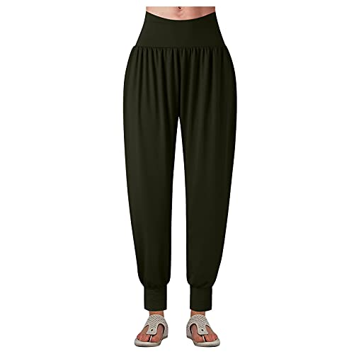 BIBOKAOKE Haremshose für Damen Einfarbige Lässige Lang Pants Jogginghose Freizeithose Weites Straight Bein Hosen Yogahose Baggy Sweathose Hohe Taille Sporthose Pumphose