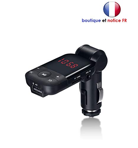 MOVTTEK Transmetteur FM France kit Mains Libres Bluetooth, Kit Mains Libres de Voiture sans Fil Mains-Libres avec Écran LED d'Affichage