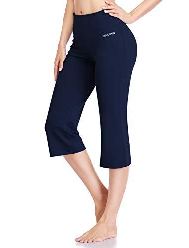 "HISKYWIN 18"" Inseam Women Inner Pocket Yoga Capri 4 Way Stretch Tummy Control Workout Running Pants, Long Bootleg Flare Pants HF2A Navy Blue-XL"