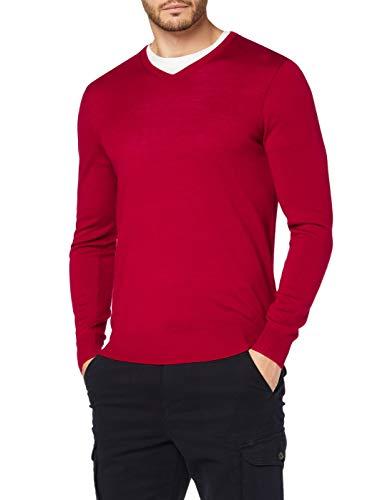 Marchio Amazon - MERAKI Pullover Lana Merino Uomo Scollo a V, Rosso (Red), S, Label: S
