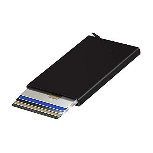 ExeQianming Kartenetui aus Metall, schwarz, kontaktlos, Kreditkartenetui für Herren, minimalistisch, ultradünn