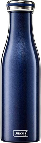 Lurch 240852 Isolierflasche/Thermoflasche für heiße und kalte Getränke aus doppelwandigem Edelstahl 0,5l, blau-metallic