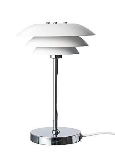 Dyberg Larsen DL 20 Weiß mit Chromfuß Skandinavische Tischlampe Moderne Tischleuchte Design Nachttischleuchte Durchmesser: 20 cm Höhe: 30 cm Mattweiß Chrom