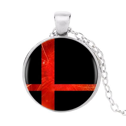 Super Smash Bros - Collar con colgante de bola roja y negra, color negro