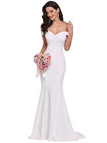 Ever-Pretty Vestido de Boda Sirena Largo para Mujer Fuera del Hombro Escote...