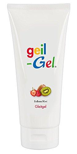 ORION Geilgel 200 ml - Neutrales Gleitgel auf Wasserbasis, Gleitmittel für langanhaltende Gleitfreuden, für Oralverkehr geeignet (Erdbeere/Kiwi)