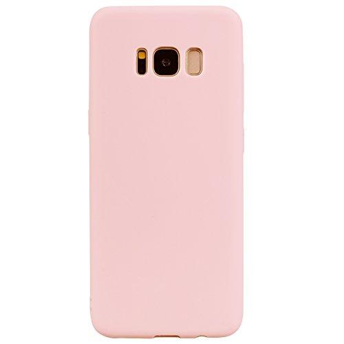 cuzz Funda para Samsung Galaxy S8 Plus+{Protector de Pantalla de Vidrio Templado} Carcasa Silicona Suave Gel Rasguño y Resistente Teléfono Móvil Cover-Rosa Claro