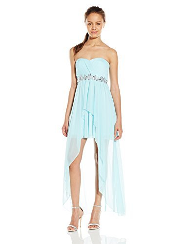 Speechless Junior's Strapless High Low Short Prom Dress, Ice Blue, 3