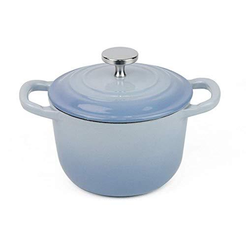 NMDD Cocottes Rondes en Fonte - Mini cocottes de 16 cm avec revêtement en émail, Convient aux cuisinières à gaz/cuisinière à Induction, etc, Bleu