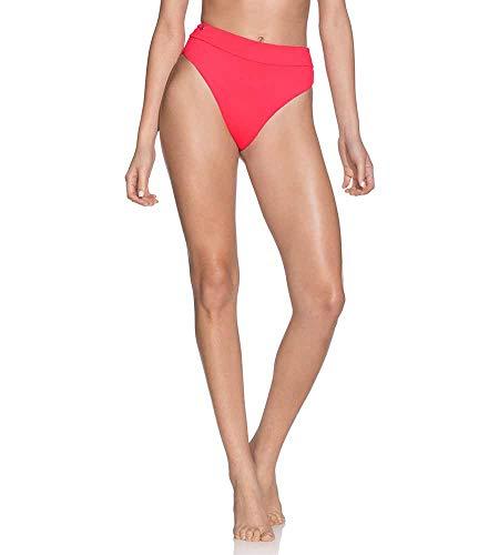 Maaji Damen Suzy Q Reversible High Waist Bottom Swimsuit Bikini-Unterteile, Samba Bright Red/Blue Geo, Large