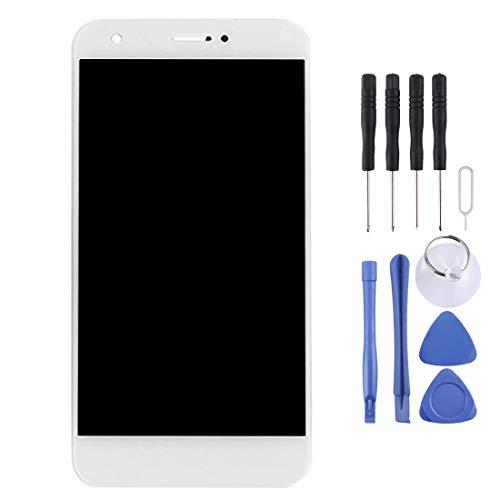 Mju Reemplazo de la Pantalla de Cristal Kit de reemplazo de Pantalla for ZTE Blade A512 Pantalla LCD y ensamblaje Completo del digitalizador (Negro) Ensamblado de la Pantalla LCD (Color : Blanco)