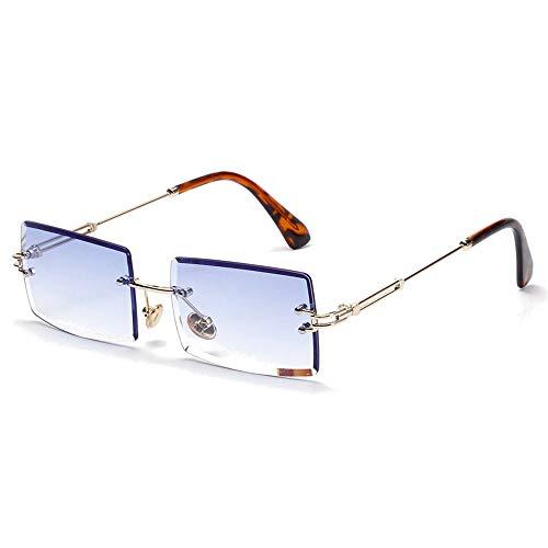 SHEEN KELLY Ovale Ultra-Small Frame Sonnenbrille für Frauen Männer Rechteck Retro durchsichtige Linse randlose Sonnenbrille