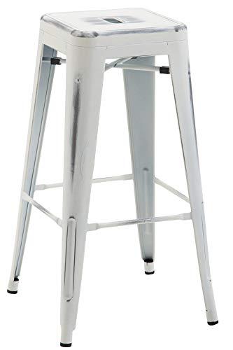 CLP Metall-Barhocker Joshua V2 I Stapelbarer Thekenhocker Mit 76 cm Sitzhöhe I Tresenhocker Mit Fußstütze, Farbe:antik weiß