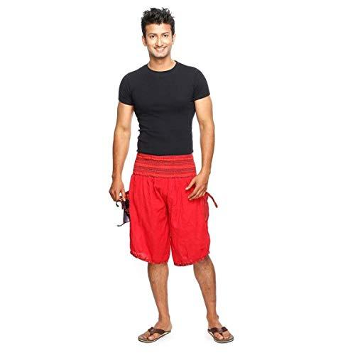 Haremshose Shorts Bermuda Jogginghose Sweathose Freizeithose Trainingshose gesmokt Varkala Herren (Rot, Einheitsgröße)