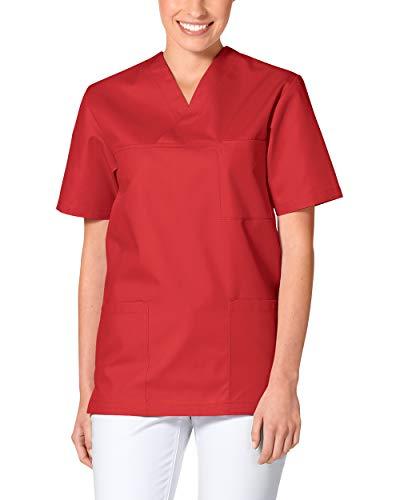 CLINIC DRESS Schlupfkasack - Kasack Damen und Herren bunt für Pflege und Altenpflege, Kurzarm und Brusttasche, 95 Grad Wäsche rot M