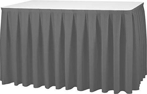 Gastro Uzal Skirting Excellent 520 x 73 cm anthrazit/grau Tischrock/Kellerfalte für die Tischgrößen 170 x 80 cm / Ø160 cm geeignet mit rückseitigem Klettband