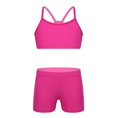 iEFiEL Tuta Sportiva per Bambina Set da Ginnastica Fitness Palestra Vestito da Balletto Tennis Atletica Ragazze 2 PCS Canotta + Pantaloncini Bikini Outfits 3-14Anni Rosa E 8-10 Anni