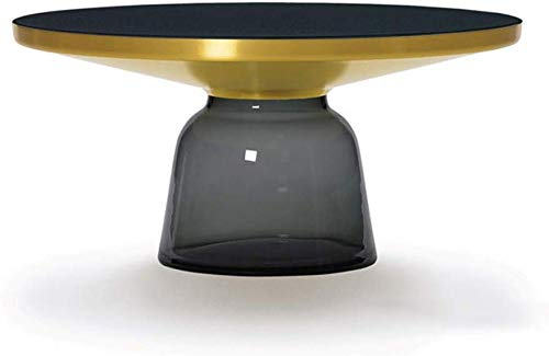 WYJW Mesa de Centro de Vidrio Templado Simple Florero Retro clásico Mesa de Vidrio Templado Redondo Color: Gris, tamaño: Grande
