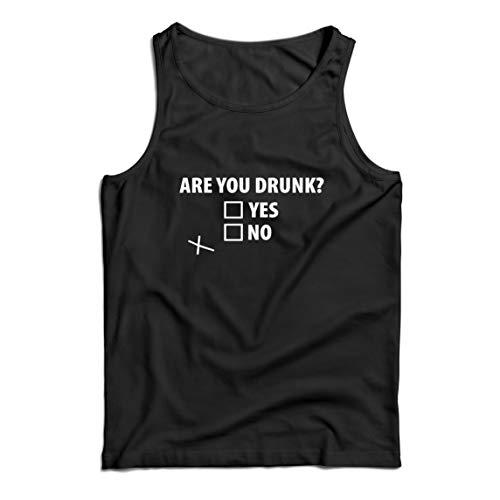 lepni.me Camisetas de Tirantes para Hombre ¿Estás Borracho, Bebiendo Alcohol de Regalo en la Fiesta? (XXXX-Large Negro Multicolor)