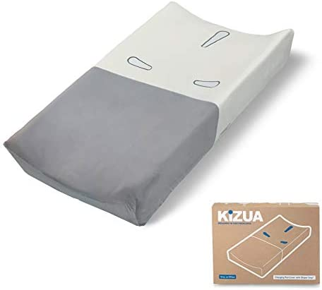Kizua Changing Pad Cover for Fast Easy Diaper Changes with Diaper Grip Medium Grey White Single product image