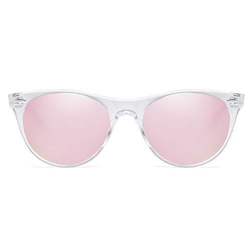 SOJOS Klassisch Retro Polarisierte Sonnenbrille Kleine Vintage UV400 Brille CELEB SJ2076 mit Transparenter Rahmen/Rosa verspiegelte Linse