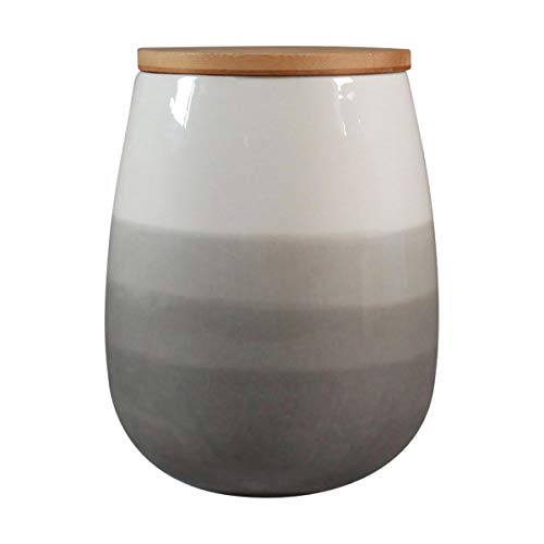 Ceramic Storage Jar by CIROA  Large Grey Handpainted Kitchen Canister 17 Quart With Lid