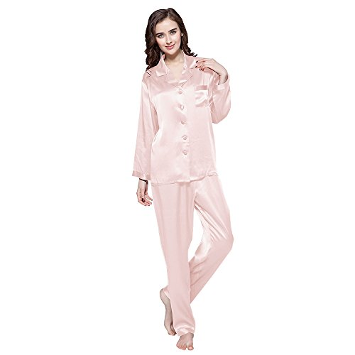 LilySilk Elegante Seide Nachtwäsche Schlafanzug Pyjama Damen Lang Hausanzug 16 Momme (M, Hell Rosa) Verpackung MEHRWEG