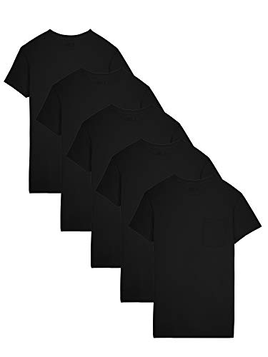 Fruit of the Loom Men's Dual Defense Pocket T Shirts, Black, Extra Large